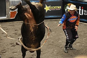 Professional Bull Riders Compete In New York's Times Square