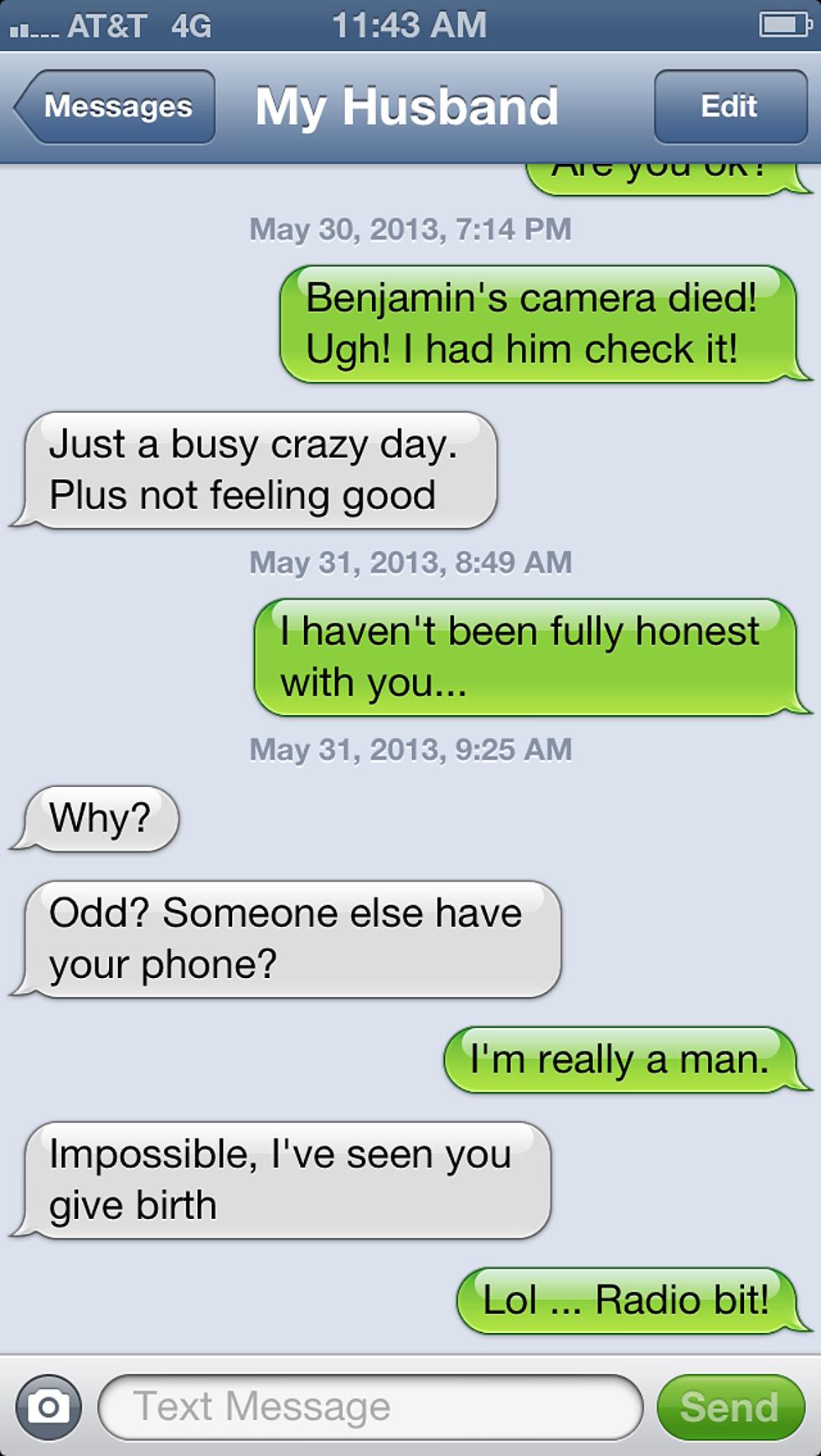 we tried a text prank on my husband
